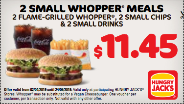 2 Small Whopper Meals for $11.45