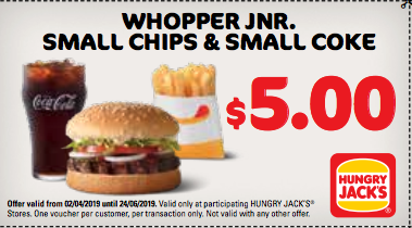 Whopper Junior, Small Chips & drink for $5.00